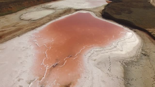 aerial: glittering water surface of red salt lake - nature reserve stock videos & royalty-free footage