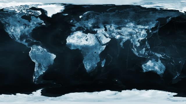 vídeos de stock e filmes b-roll de global 0807: pan across a flattened earth map - design plano