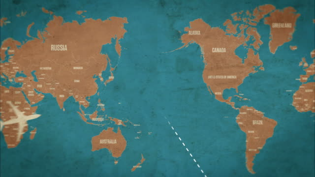 stockvideo's en b-roll-footage met global air travel with countries and worldmap seamless loop - kaart