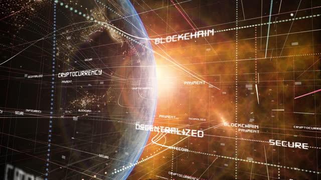 グローバルブロックチェーンと暗号通貨マトリックスグリッド - ピア・ツー・ピア点の映像素材/bロール