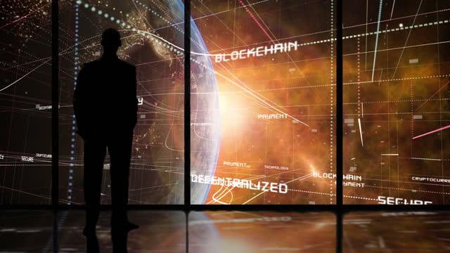 griglia della matrice blockchain e criptovaluta globale - blockchain video stock e b–roll