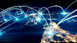 Global business concept of connections and information transfer in the world