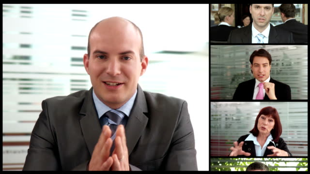 hd montage: global business video conference - composite image stock videos & royalty-free footage