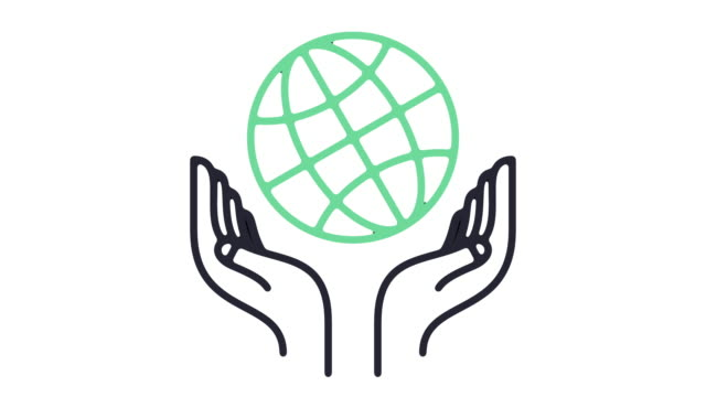 vídeos de stock e filmes b-roll de global charity line icon animation - cuidado