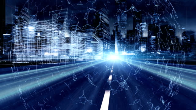 vídeos de stock e filmes b-roll de global communication and city network concept - cidade inteligente