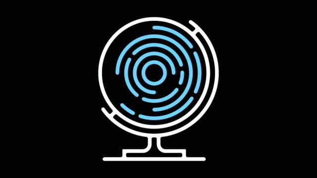 vídeos y material grabado en eventos de stock de animación de icono de línea de comunicación global con alfa - globo terráqueo para escritorio