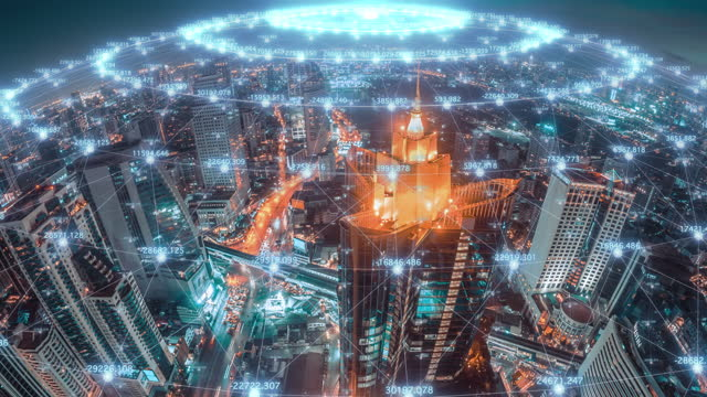global communication network concept with modern city aerial view, internet data and wireless technology concept - development stock videos & royalty-free footage