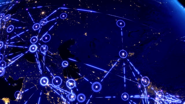 Global communications, network of connections over Asia, Europe and America.