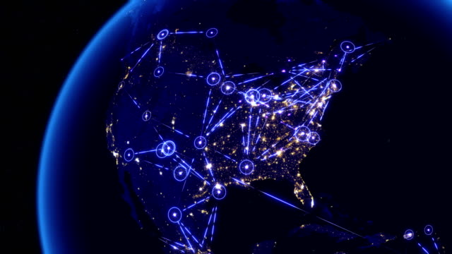 Global communications through the network of connections over North America.