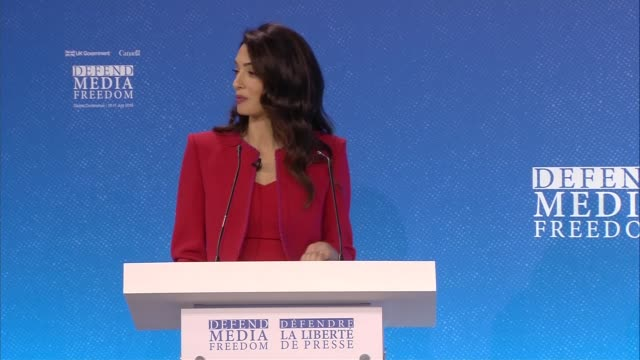 global conference for media freedom: amal clooney and jeremy hunt speeches; england: london: int amal clooney speech sot - press conference stock videos & royalty-free footage