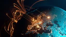 Global Connection Lines - Data Exchange, Digital Communication, Pandemic, Computer Virus