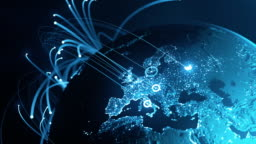 Global Connection Lines - Data Exchange, Digital Communication, Pandemic