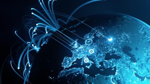 vídeos y material grabado en eventos de stock de líneas de conexión globales - intercambio de datos, comunicación digital, pandemia - europa continente