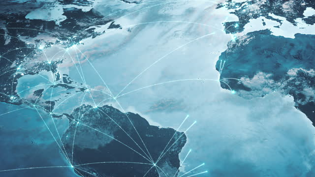 global connection lines - expanding network, blue - global business, network security, spreading pandemic - westernisation stock videos & royalty-free footage