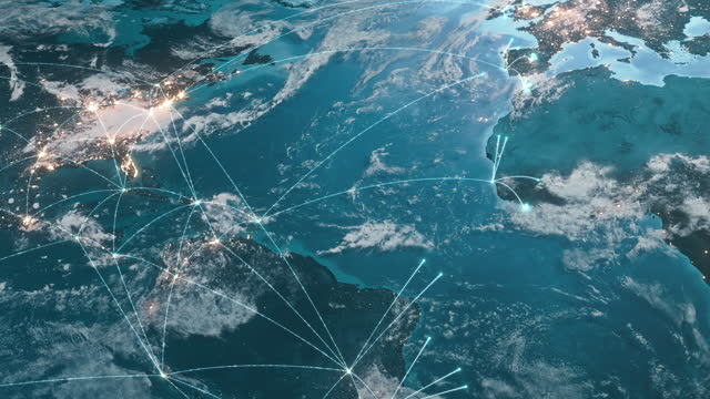vídeos de stock e filmes b-roll de global connection lines - expanding network - global business, network security, spreading pandemic - global