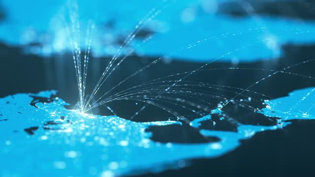 linee di connessione globali - business globale, scambio di dati, rotte di viaggio - blu - testo video stock e b–roll
