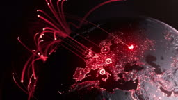 Global Connection Lines - Red Version - Data Exchange, Digital Communication, Pandemic, Computer Virus