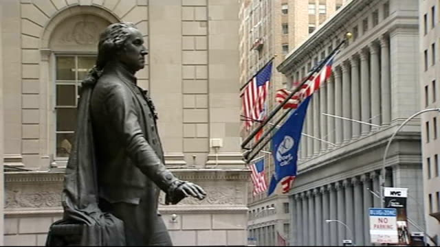 house of representatives vote against rescue plan good shot statue of george washington next nyse building - george washington stock videos and b-roll footage