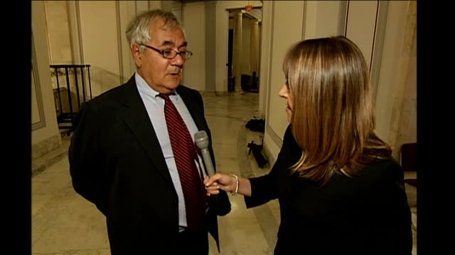 senate approves financial bailout bill / house of representatives next to vote congressman barney frank interview with reporter in shot sot capitol... - 緊急援助点の映像素材/bロール