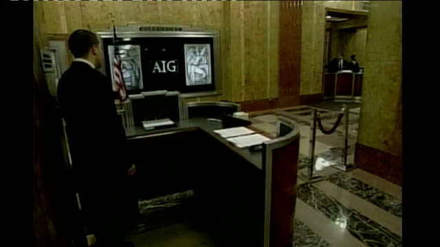 stockvideo's en b-roll-footage met stock markets fall sharply following lehman collapse int good shot reception area of aig - 2008