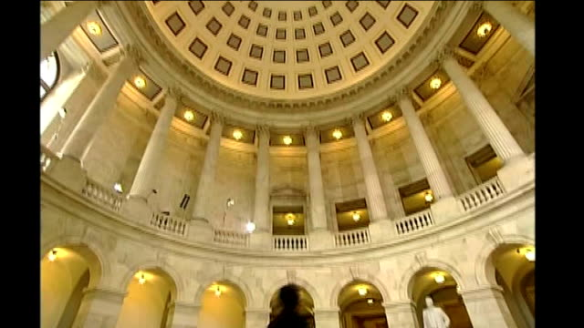 stocks rally as hopes continue for financial bailout good shot domed ceiling of rotunda in russell building entrance to congressional office building - 緊急援助点の映像素材/bロール