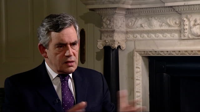 stocks rally as hopes continue for financial bail-out; england: london: int gordon brown mp interview sot - matter of regret that american political... - gordon brown stock-videos und b-roll-filmmaterial
