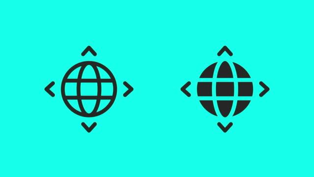 vídeos de stock, filmes e b-roll de ícones de direção global - vetor animado - ícone de linha