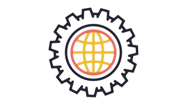 vídeos de stock e filmes b-roll de global economy line icon animation - design plano