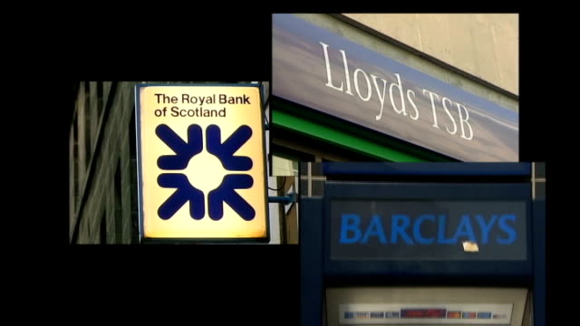 bailout deal for british banks planned graphicised split screen various of bank signs for the royal bank of scotland lloyds tsb and barclays - 緊急援助点の映像素材/bロール