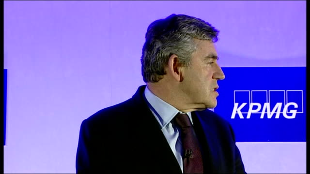vidéos et rushes de global financial crisis: gordon brown addresses business leaders in birmingham; int unidentified man introducing brown sot / gordon brown mp speech... - prime minister