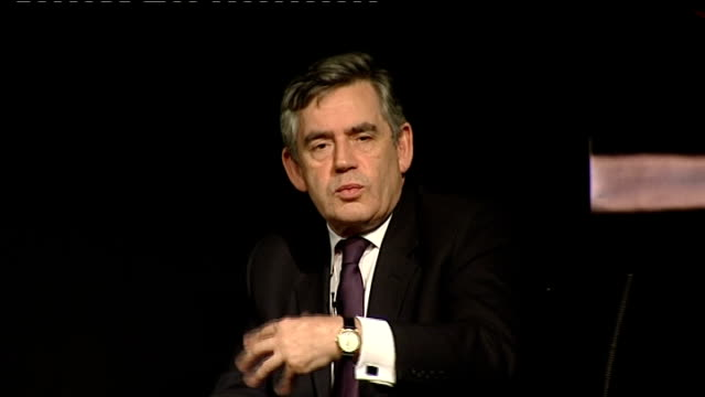 global financial crisis: gordon brown visits cheltenham and swindon; - what is being done to try to solve the global financial crisis / we will do... - gordon brown stock-videos und b-roll-filmmaterial