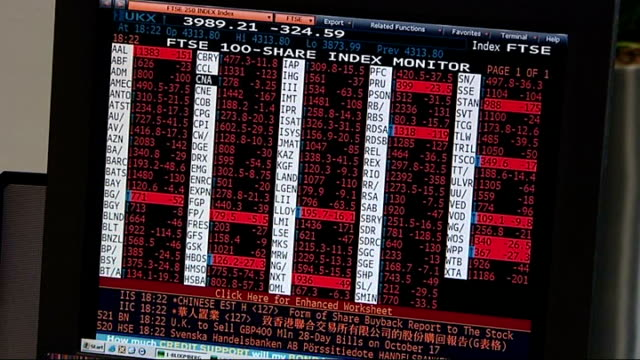 stockvideo's en b-roll-footage met stock market crash red prices on screen - 2008