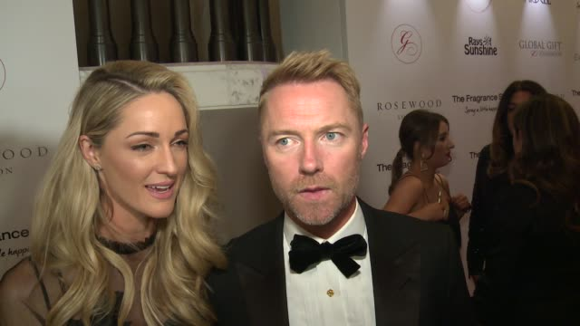 global gift gala 2018 red carpet arrivals; england: london: ext / int ronan keating and his wife storm keating red carpet interview sot / ronan... - ronan keating stock videos & royalty-free footage