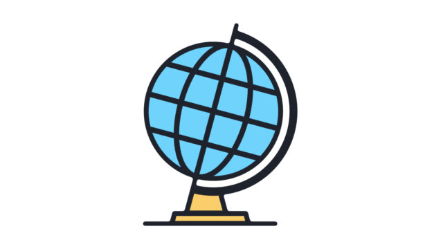 global issues & trends flat line icon animation with alpha - variation icon stock videos & royalty-free footage