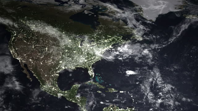 Global Map at Night: America's to Europe