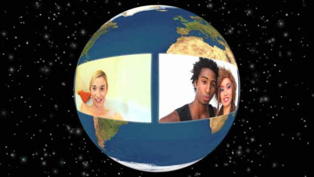 hd loop montage: global multi ethnic video conference - film montage stock videos & royalty-free footage