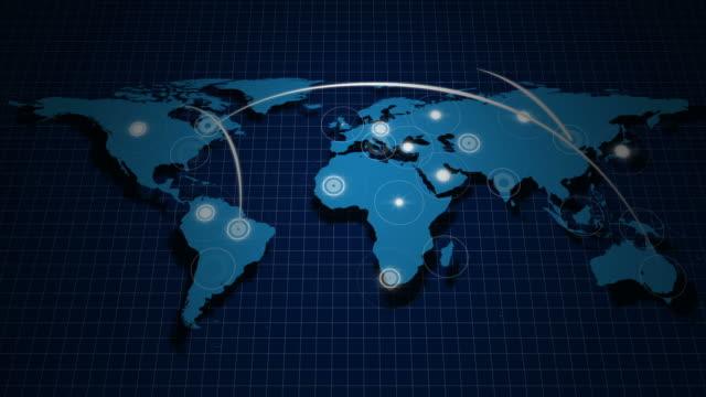 vídeos y material grabado en eventos de stock de red global - mapa mundial