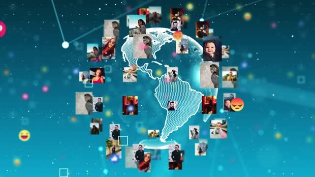 vidéos et rushes de 4k réseau mondial et zoom sur le monde social - image composite