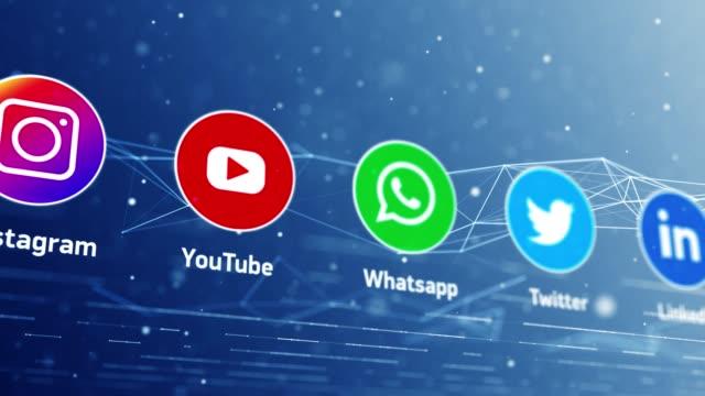 4k social media di rete globale - villaggio globale video stock e b–roll