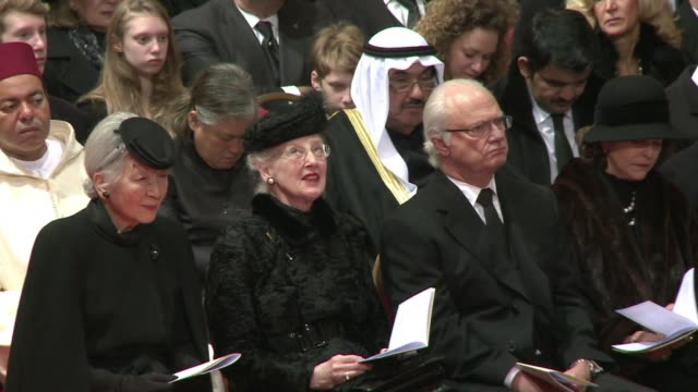 global royalty from as far afield as japan and thailand attended the windswept funeral friday of belgiums former queen fabiola widow of the popular... - vedova video stock e b–roll