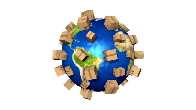 stockvideo's en b-roll-footage met global shipment - delivering packages all over the world - e mail