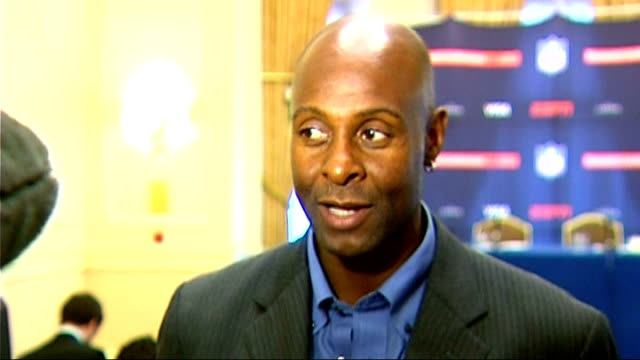 global sport summit: jerry rice interview; england: london: landmark hotel: int interview with jerry rice sot - fantstic for nfl game between new... - rice ball stock videos & royalty-free footage