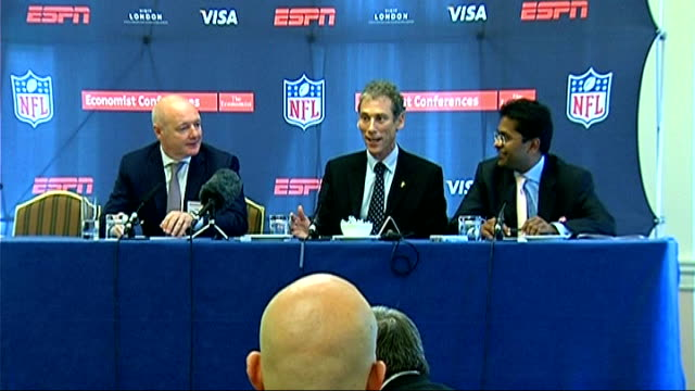 global sport summit: press conference; england: london: landmark hotel: int peter kenyon press conference sot - speaks about spectator experience in... - shaky camera stock videos & royalty-free footage