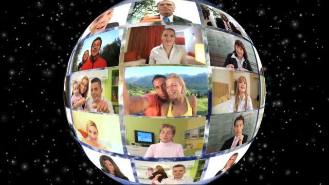 hd loop montage: global video conference - digital human face stock videos & royalty-free footage