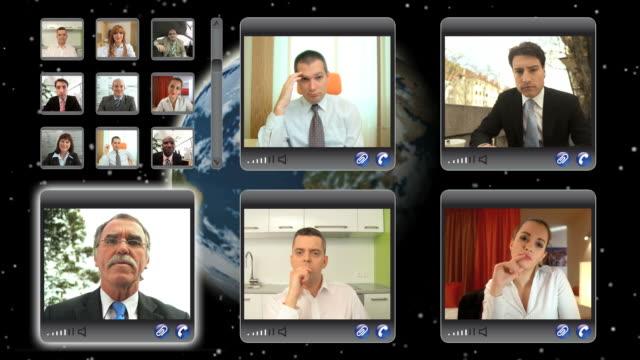 vídeos y material grabado en eventos de stock de hd montaje: global de videoconferencia - conferencia telefonica