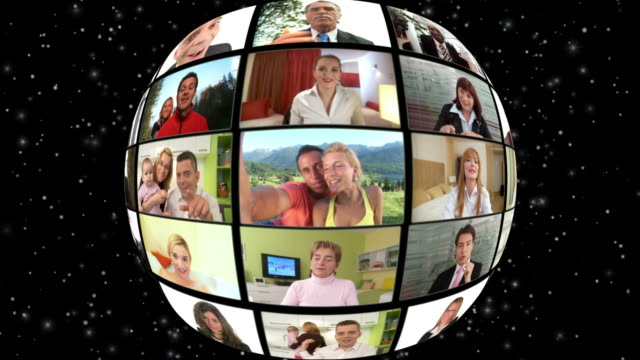 ciclo hd montaggio: global video conferenza - montaggio in sequenza video stock e b–roll