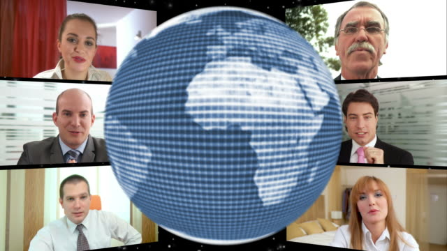 hd-loop montage: global video conference - montage composite technik stock-videos und b-roll-filmmaterial