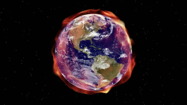 Global warming aura of radiation envelopes the Earth (Loop).