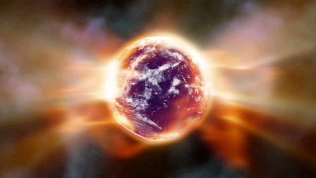 stockvideo's en b-roll-footage met global warming aura of radiation envelopes the earth (loop). - meer dan 20 seconden