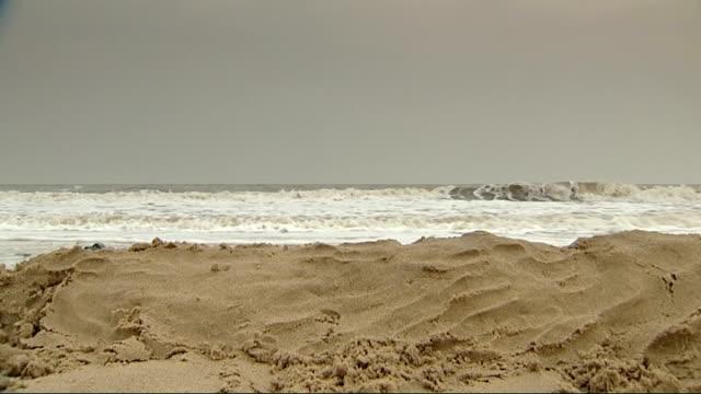 climate change report: norfolk flood threat: gvs blakeney and hemsby; hemsby: wide shot hemsby beach as people walking along with dog / low angle... - イーストアングリア点の映像素材/bロール